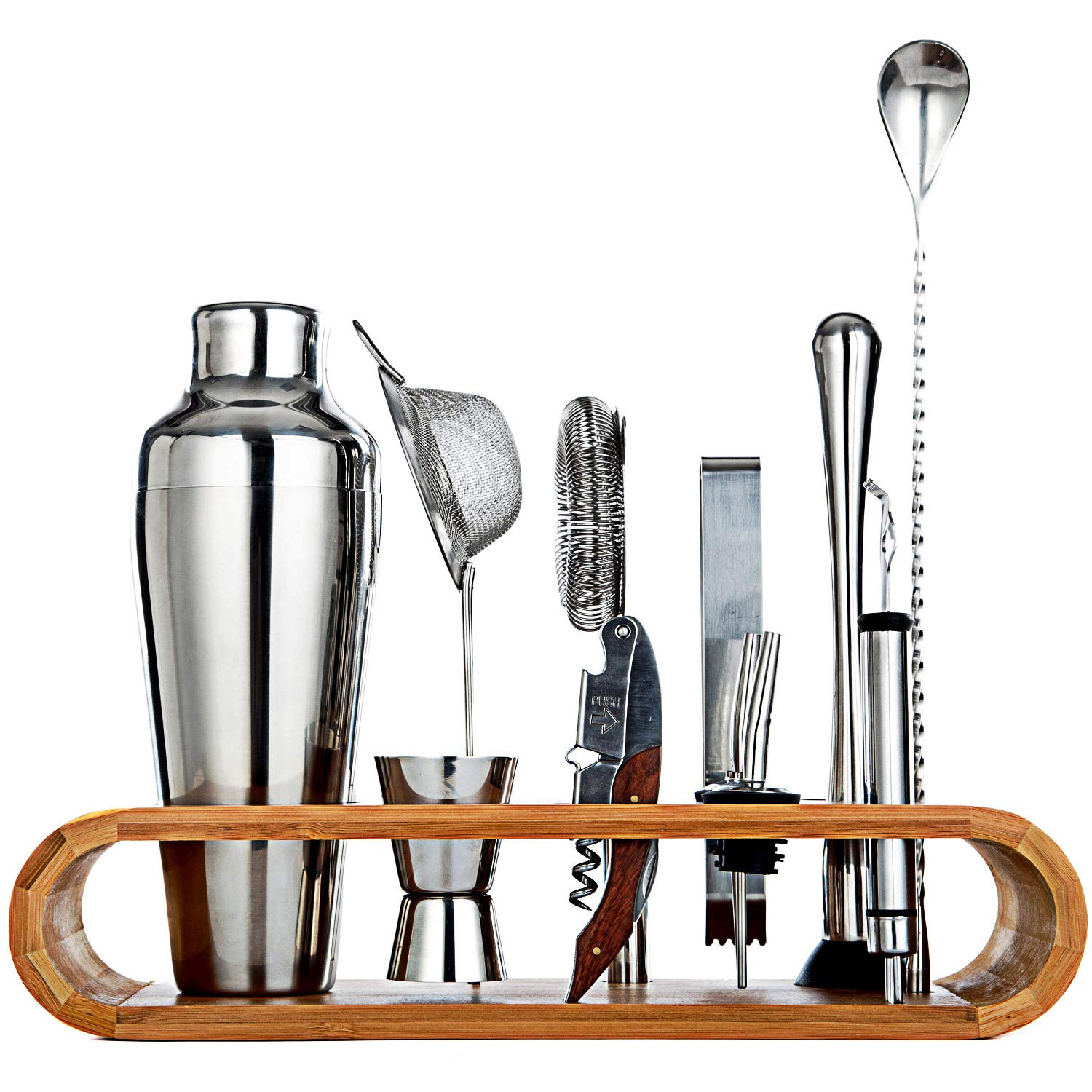 Jillmo Pro Bartender Kit-11pieces Premium Bar Tools with Stylish Bamboo Stand-Perfect Home Bartending Kit and Cocktail Shaker Set/19oz Parisian Cocktail Shaker with bar Accessories