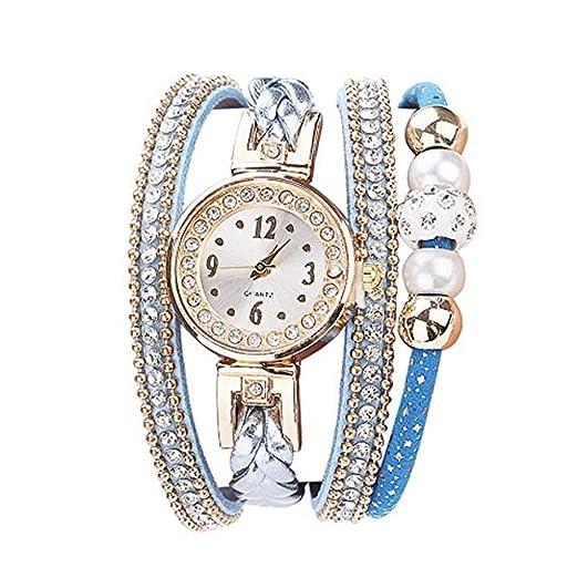Kinlene Relojes Pulsera Mujer, Moda cuero banda de cuarzo analogico redondo reloj relojes (A): Amazon.es: Relojes