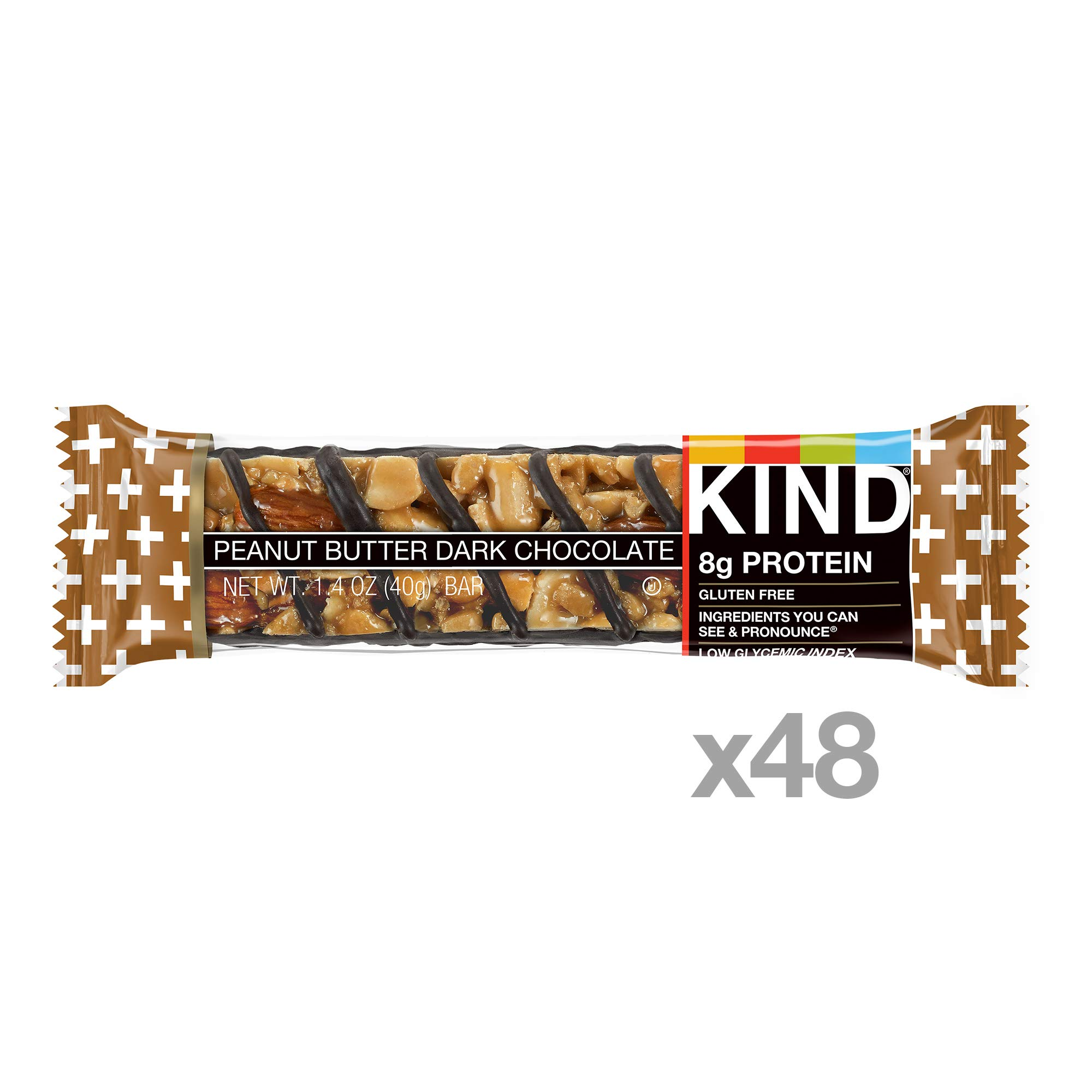 KIND Bars, Peanut Butter Dark Chocolate, 8g Protein, Gluten Free, 1.4 oz Bars, 48 Count by KIND (Image #2)