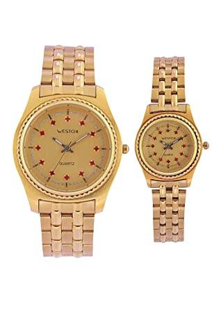Westchi Gold P6103GG Gold Analog Formal For Couple