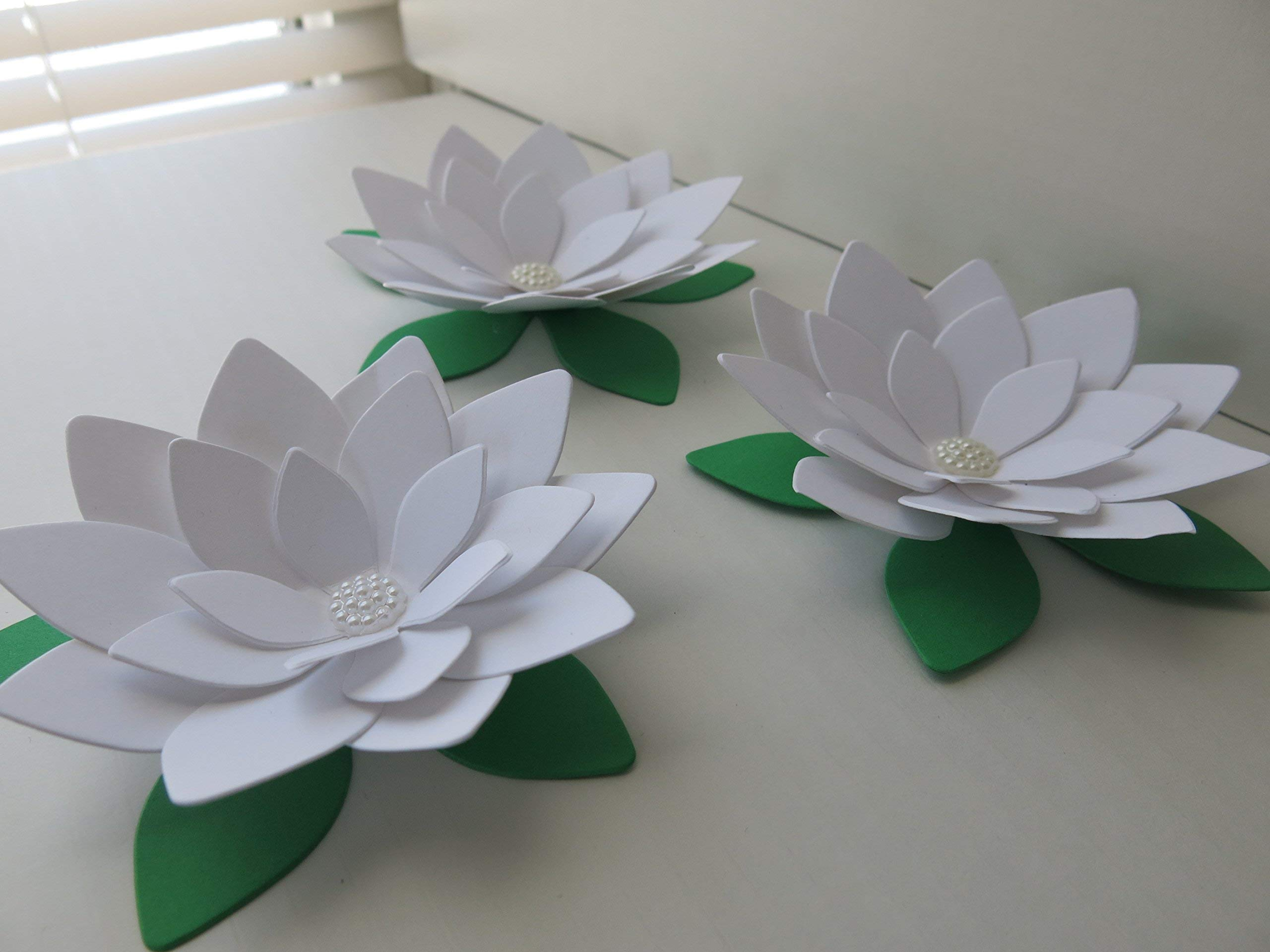 silk flower arrangements white lotus paper flowers 4 inch water lily set of 3 blooms 3d wedding table runner centerpiece decor