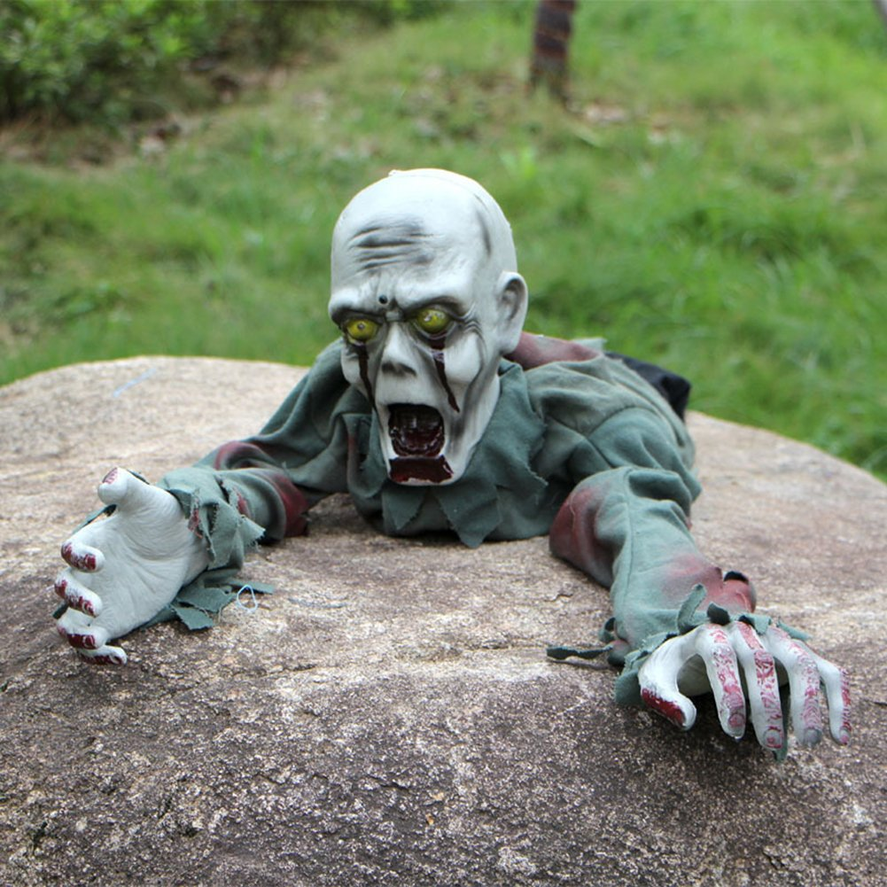 Zehui Induction Scary Sound Lighting Eyes Crawl Ghost Tricky Prank Toys Garden Yard Ornaments Party Haunted Houses Props Halloween Horror Ghosts Decoration