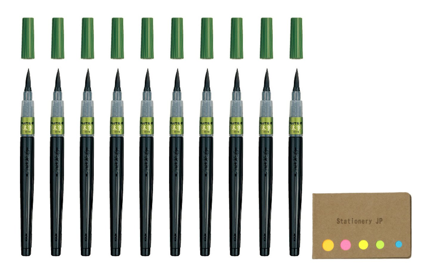 Pentel Fude Brush Pen, Bold, 10-pack, Sticky Notes Value Set