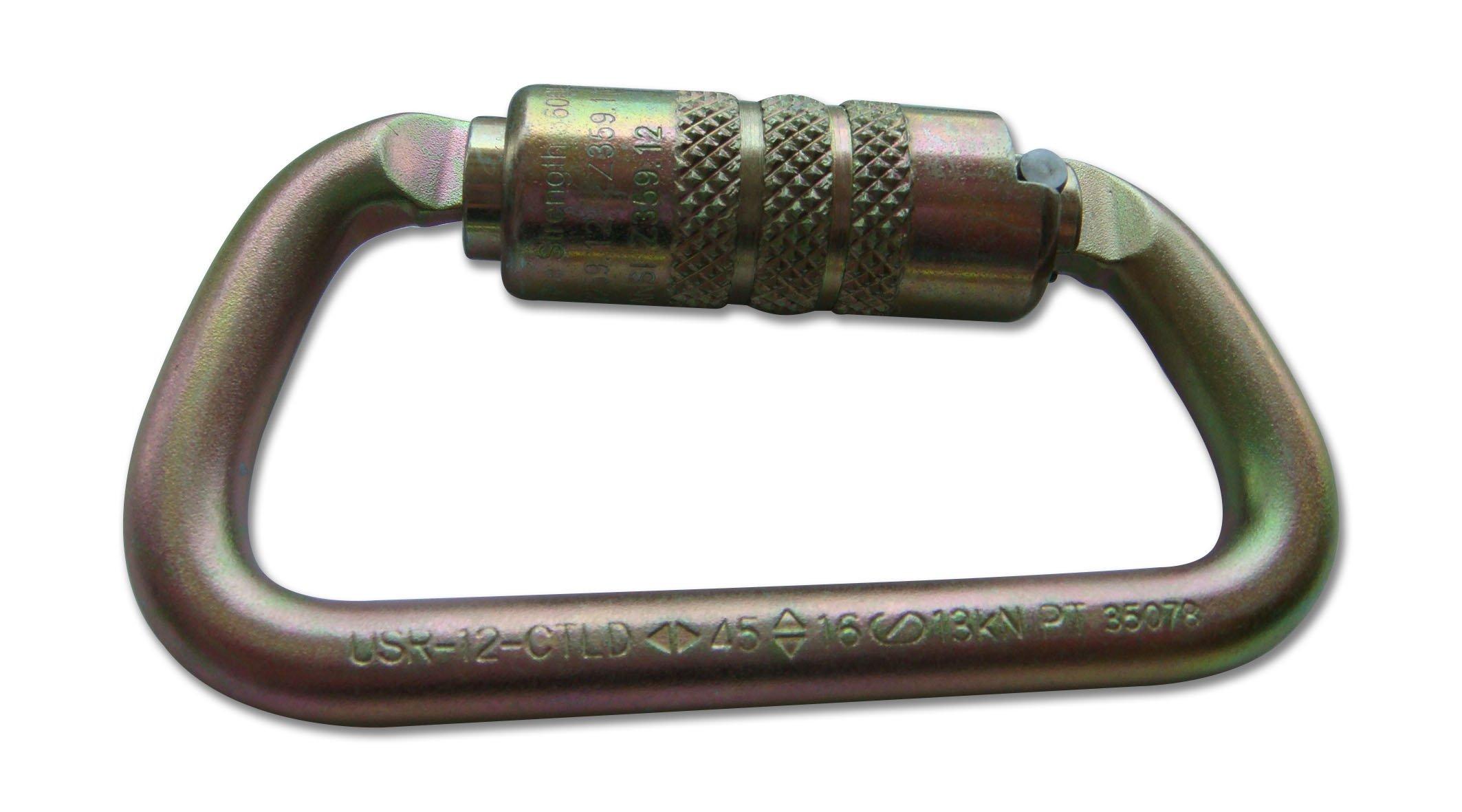 ProClimb USR-12-CTLD Twist Lock Equal D Steel Carabiner, 104 mm x 56 mm