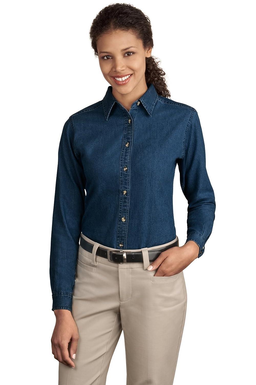Port & Company Women's Long Sleeve Value Denim Shirt at Amazon ...