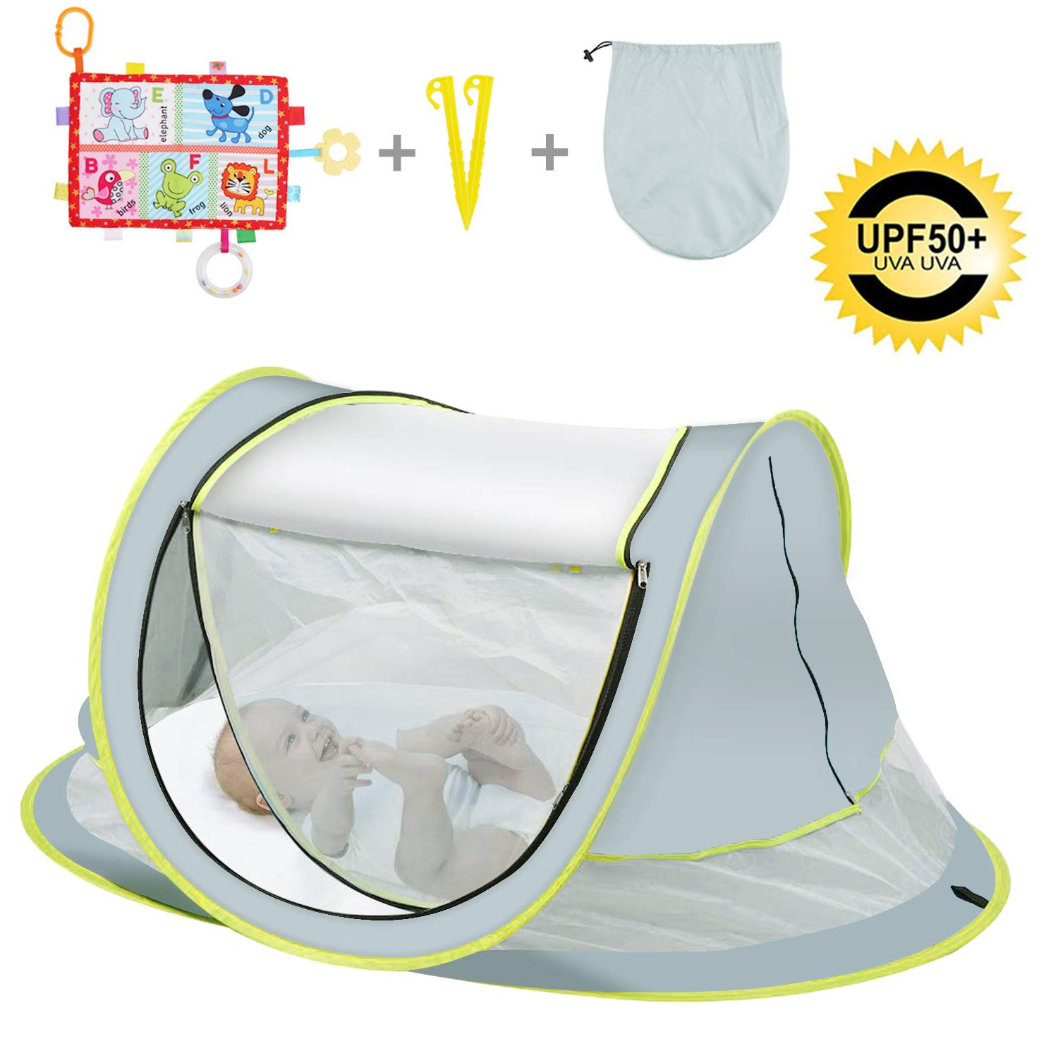 OBloved Baby Beach Tent, Large Portable Baby Travel Bed, UPF 50+ UV Protection Sun Shelters for Infant, Pop UpFolding Baby Travel Tent with Mosquito Net, Ultralight Sunshade with 2 Pegs by OBloved