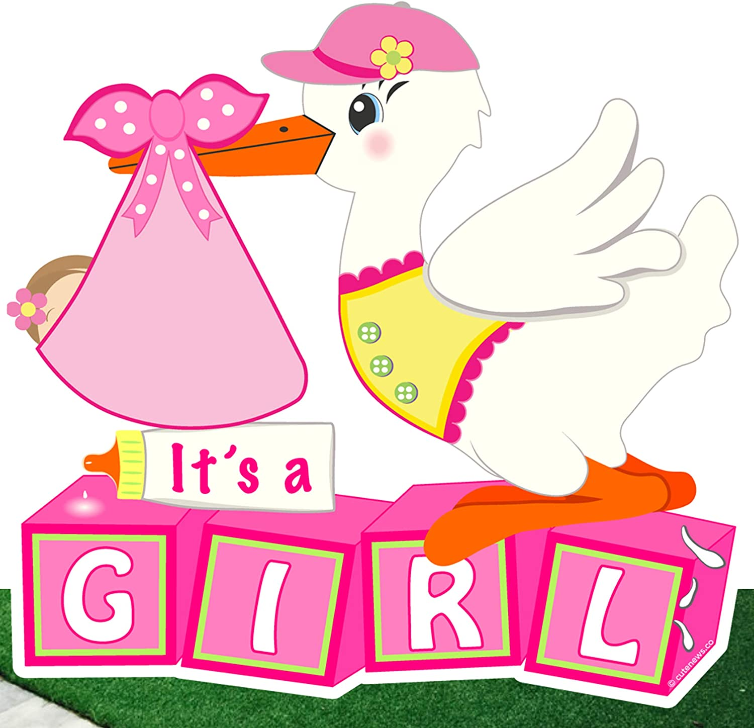 Cute News Welcome It's a Girl Yard Stork Sign - Baby Shower Lawn Art Decoration- Outdoor Birth Announcement - Special Delivery, Pink