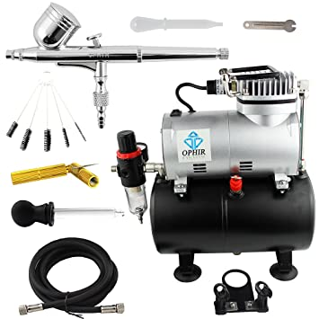 OPHIR Dual Action Airbrush Kit with Air Tank Compressor & Cleaning Tools for T-shirt