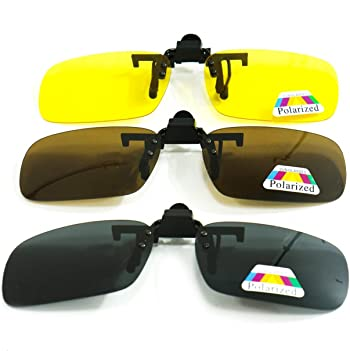 HUELE 3 Pairs Polarized Clip-On Sunglasses for Men/Women