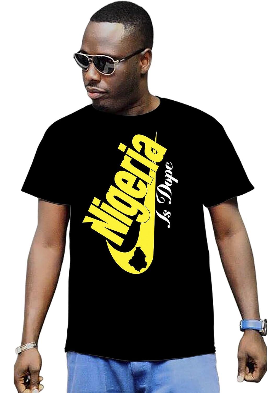Cali Dreamers Men's I love Nigeria flag map Africa map t-shirt black
