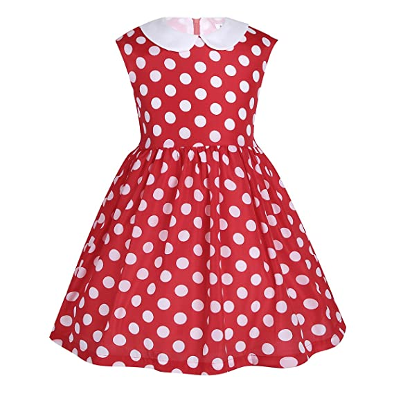 Amazon.com: MSemis Kids Girls Baby Christmas Party Dress Sleeveless Lapel Polka Dots Knee Length Dress: Clothing