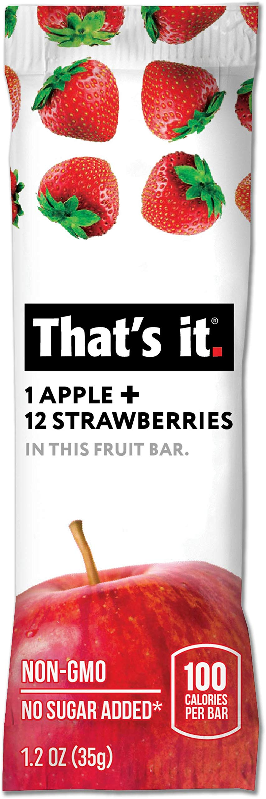 That's It Apple Strawberry Snack Bar Gluten Free 1.2 oz, Pack of 72