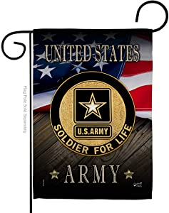 Army US Soldier for Life Garden Flag Armed Forces Rangers United State American Military Veteran Retire Official Small Decorative Gift Yard House Banner Double-Sided Made in USA 13 X 18.5