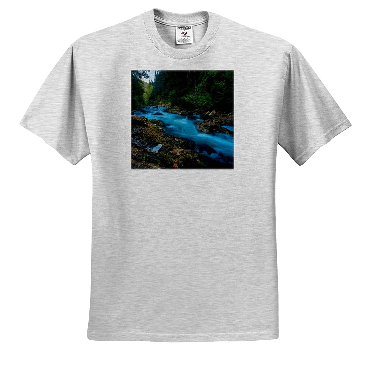 Landscapes ts/_309070 3dRose Mike Swindle Photography Adult T-Shirt XL River Flowing Through Green Forest
