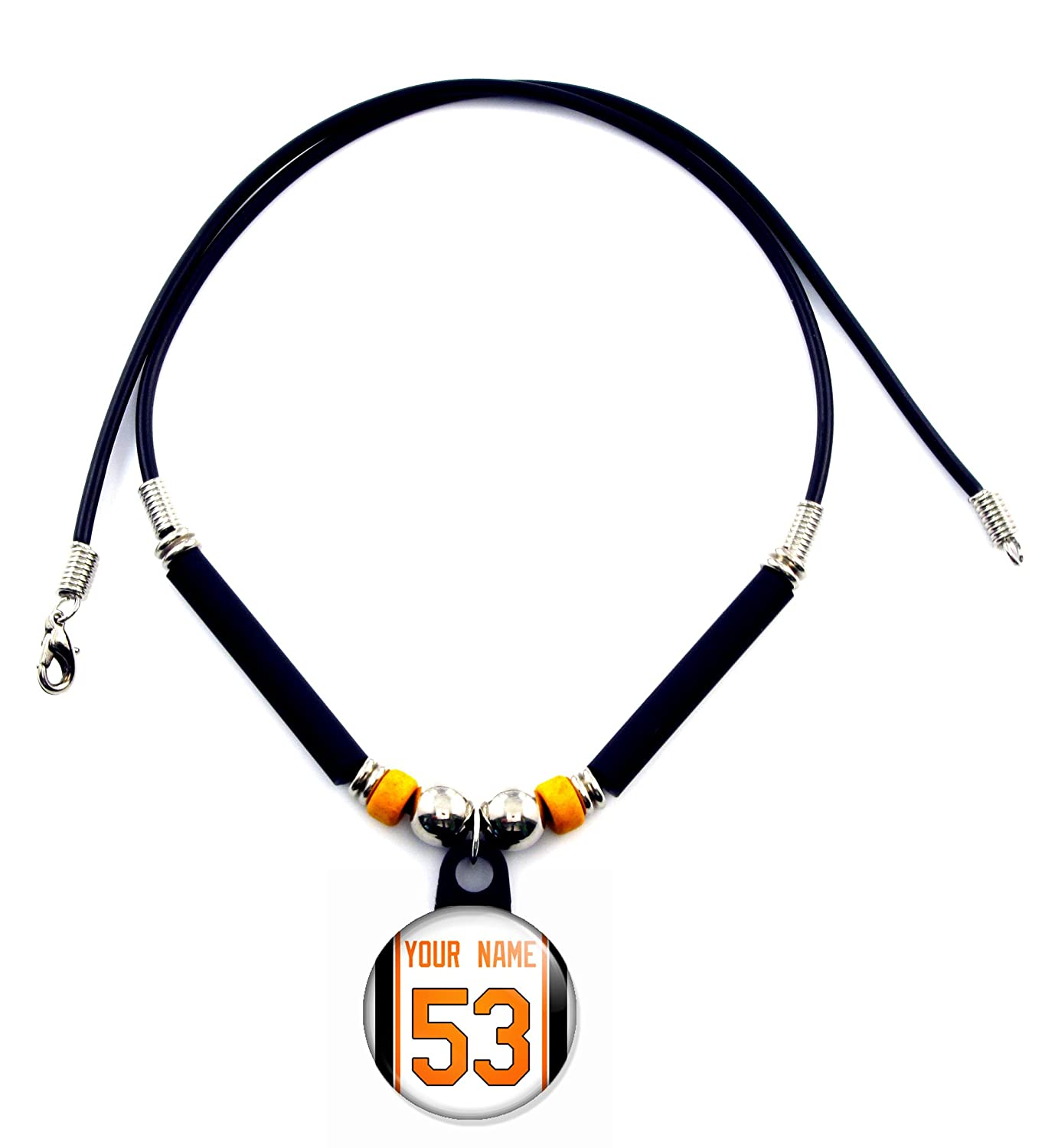 SpotlightJewels Baltimore Personalized Baseball Jersey Necklace with Your Name and Number
