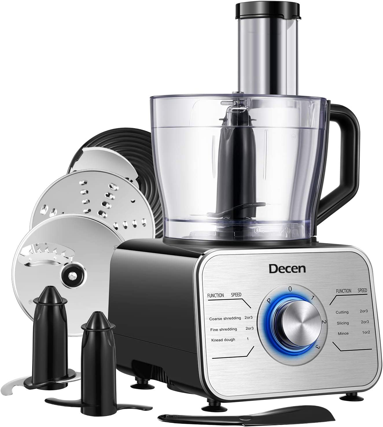 Decen 12-Cup Food Processor & Vegetable Chopper, Electric Food Chopper with LED light, 3 Speeds 6 Main Functions with Chopper Blade, Dough Blade, Shredder, Slicing Attachments, Silver