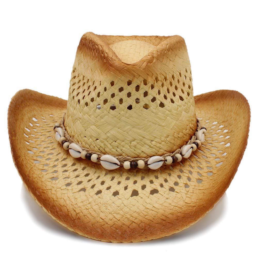 FengHe Moda Exquisito Encanto de Paja Trenzado de los Hombres Sombreros de Vaquero con el Sombrero de los Hombres de Am/érica del Oeste de Color Caqui s/ólido Hombres Sombrero de Vaquero Fresca