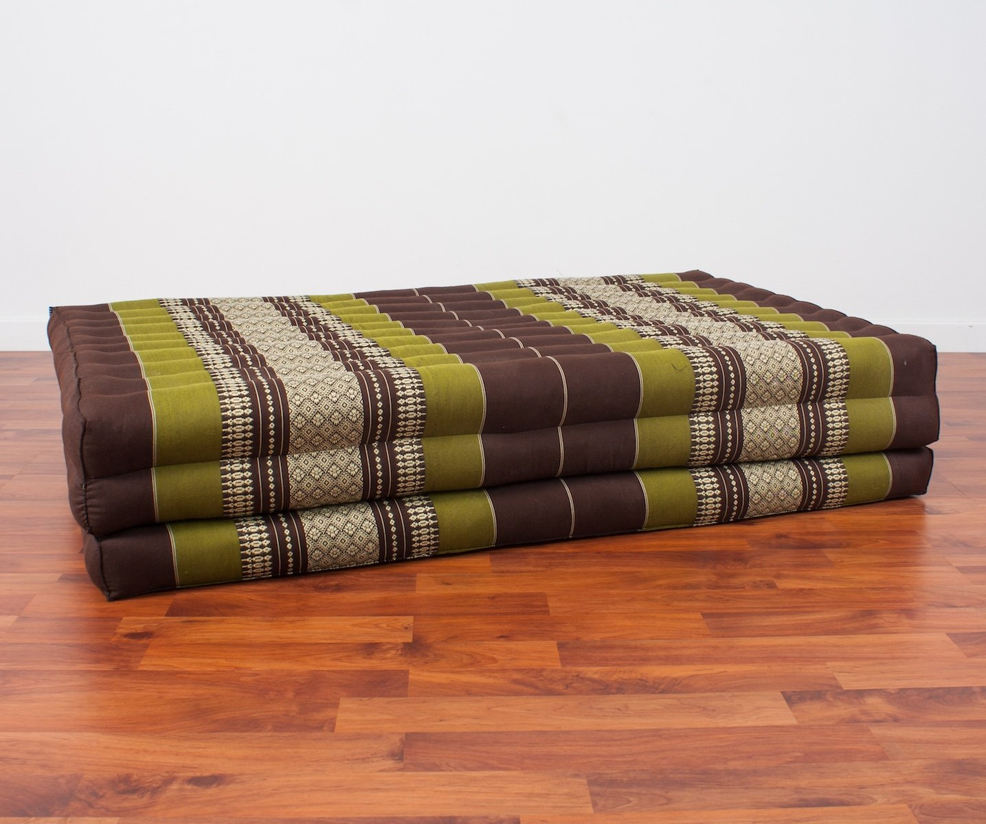 Leewadee Thai Massage Mat XL, 82x46x3 inches, Kapok, brown green by Leewadee (Image #1)