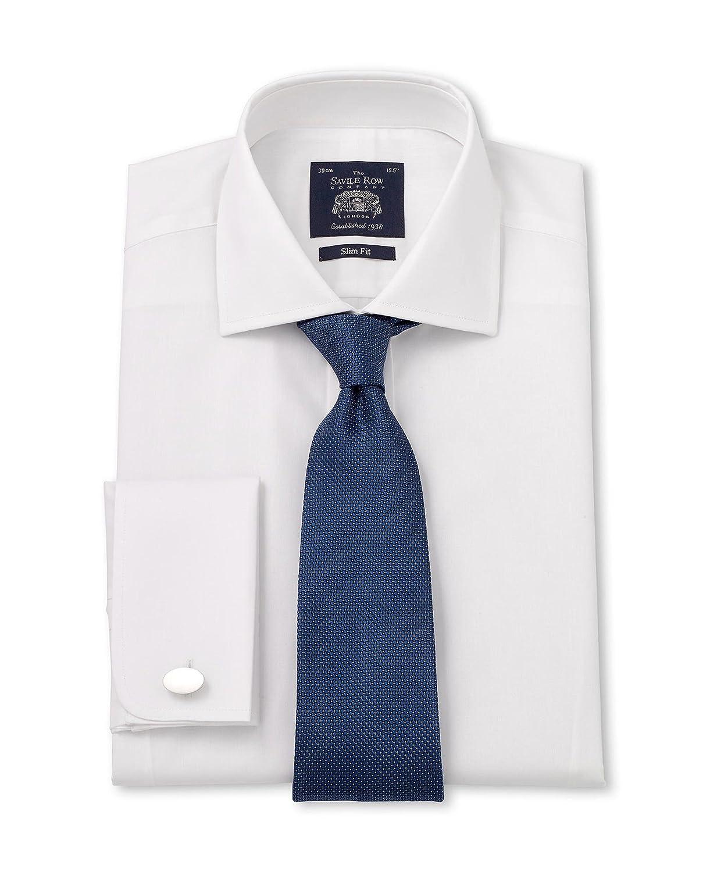 "Savile Row Men's White Poplin Slim Fit Shirt 17"" Standard & Shortened Single"