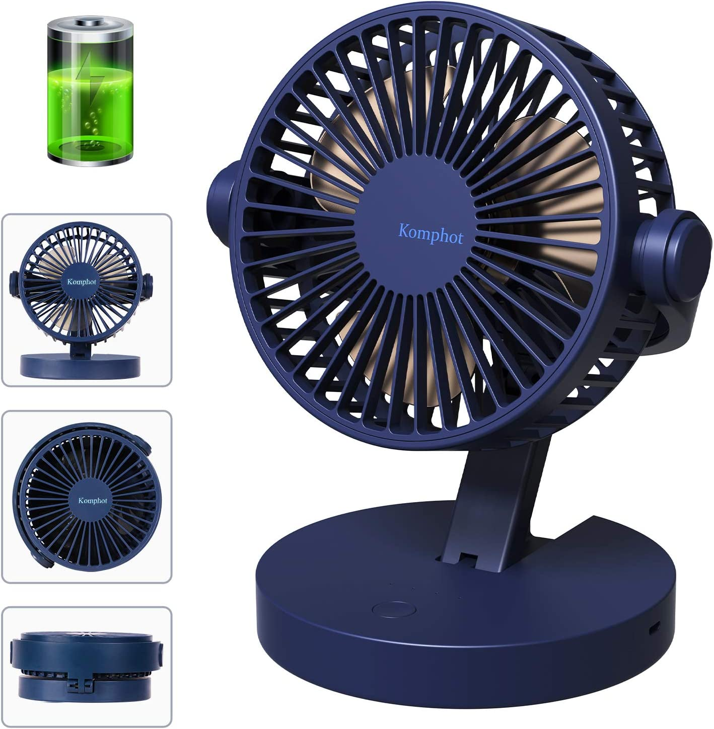 Komphot Rechargeable Battery Operated Fan Portable Small Quiet USB Desktop Fan with Fold Strong Airflow 3 Speeds Personal Tabletop Fan Powered by USB for Office Home Travel Camping School (BLUE)