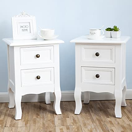 SUNCOO Retro White Wood Table/Night Stand End Side Bedside Small Table  W/Wicker