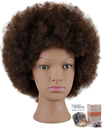 15e2f415777ad Amazon.com   Mannequin Head African American with 100% Human Hair  Cosmetology Afro Hair Manikin Head for Practice Styling Braiding   Beauty