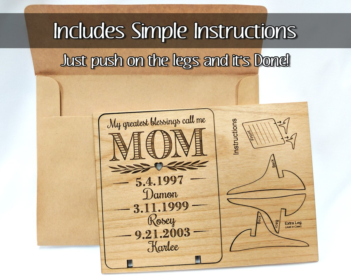 Unique Mom Greeting Card Personalized Mothers Day Gift Mom Card for Birthday Christmas Mother of The Bride Thank You Cards Handmade Display Alder Wood Card (Mom) by Greeting Card-by-StockingFactory (Image #3)