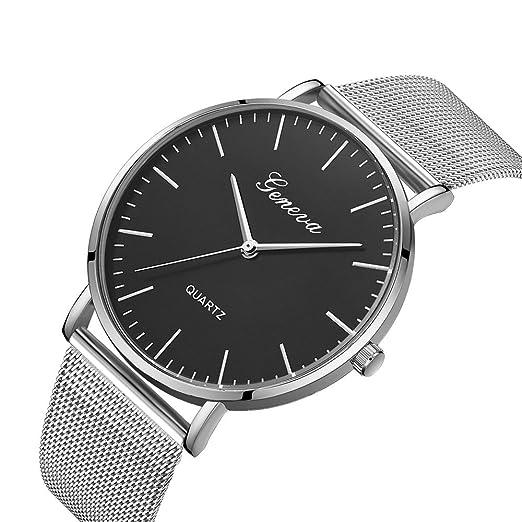 Yvelands Liquidación Reloj de Pulsera de Pulsera de Acero Inoxidable con Cuarzo clásico de Ginebra para Mujer (tamaño Libre,Plata y Blanco): Amazon.es: Ropa ...