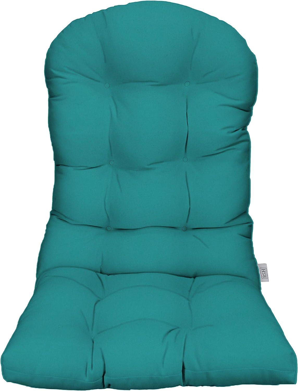 RSH D\u00e9cor IndoorOutdoor Round Tufted Bistro Chair Cushion with Ties Made with Sunbrella Maxim Heather Beige Stripe