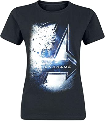 Avengers Camiseta para Mujer Endgame Bursted Logo Marvel Cotton Black: Amazon.es: Ropa y accesorios