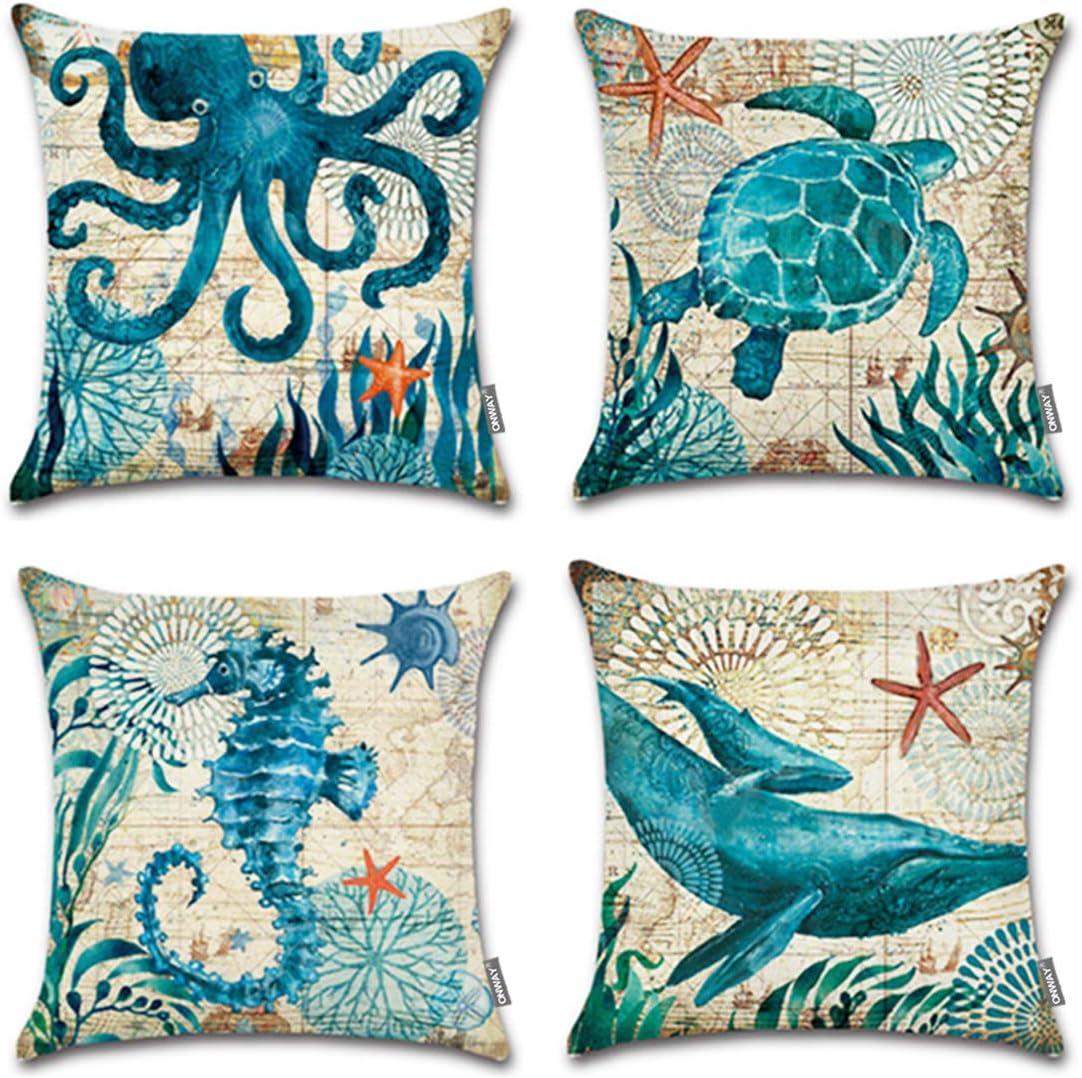 "ONWAY Ocean Park Cotton Linen Theme Decorative Pillow Cover Case 18"" X 18"" Square Shape-Ocean-Beach-sea-Print-Starfish-Seahorse-Voyage, 4 Pack (Sea 1)"