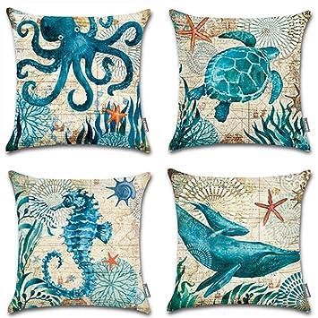 Amazon.com: Funda de almohadón decorativa Onway Ocean ...
