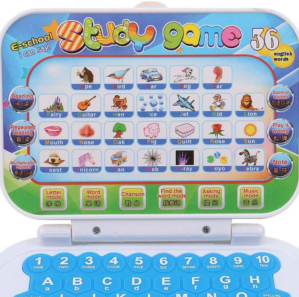Random Color perfecti Children Computer Early Education Learning Machine Toy Preschool English Chinese Electronic Learning /& Activity Toys For 2-6 Years Old