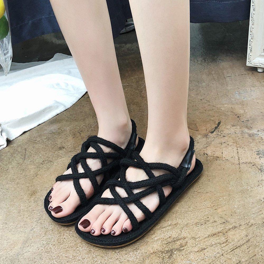 XING GUANG Sommer Neue Koreanische Frauen Schuhe Gras Weave Hanf Flache Dünne Riemen Sandalen,Black(37)  Black(37)