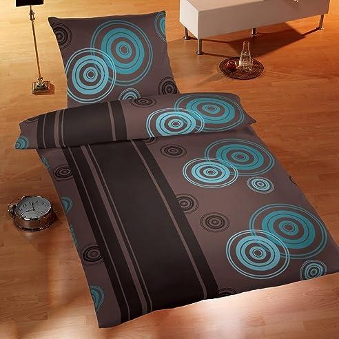High Quality Kuschelweiche Microfaser Fleece Bettwäsche Braun Türkis 17543/073,  Größe:135x200 Cm + 80x80 Design Ideas