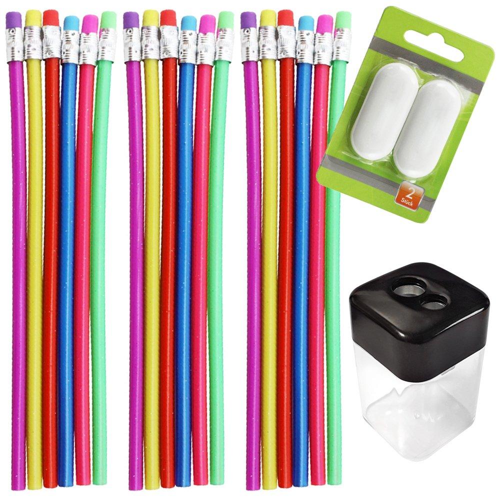 com-four® 18er Set Biegsamer Zauber Bleistift mit Glitzereffekt + 2 STK. Radiergummi und 1 STK. Anspitzer, ideal für Kinder, mit Härtegrad 2B ideal für Kinder mit Härtegrad 2B
