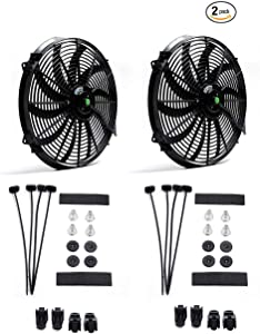 (2 pack) Engine radiator cooling fan 16 inch 12V 120W motor, radiator fan with fan mounting kit (push-pull design)