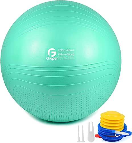 Gruper Yoga Ball,45-75cm Extra Thick Exercise Ball for Workout Fitness Balance - Anti Burst Chair for Home and Office Desk-Includes Hand Pump Workout Guide Access