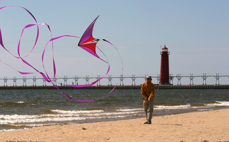 Prism Hypnotist Dual Line Framed Stunt Kite with 40' Tail Bundle (3 Items) + Prism 40ft RipStop Streamer Tail Yellow + WindBone Kiteboarding Lifestyle Stickers + Key Fob (Fire) by Prism, WindBone