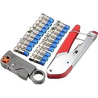SeeKool Kit de Crimpador y Pelacable Coaxial Universal Coaxial Cable Alicates, Adecuado para Cables RG58/ 59/62/ 6/ 3V2V…