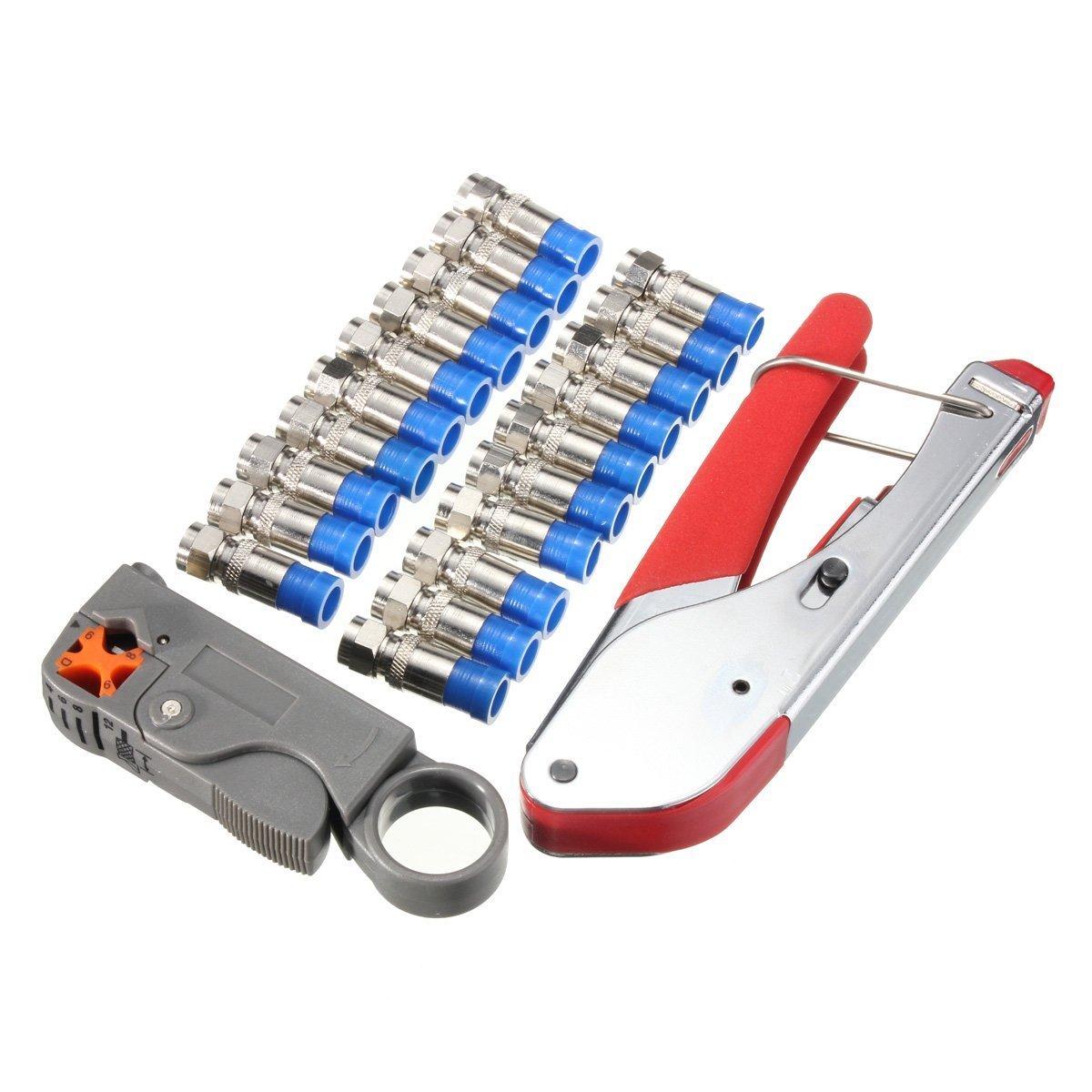 SeeKool Kit de Crimpador y Pelacable Coaxial Universal Coaxial Cable Alicates, Adecuado para Cables RG58/ 59/62/ 6/ 3V2V/ 4C/ 5C,20x Coaxial Cable F ...