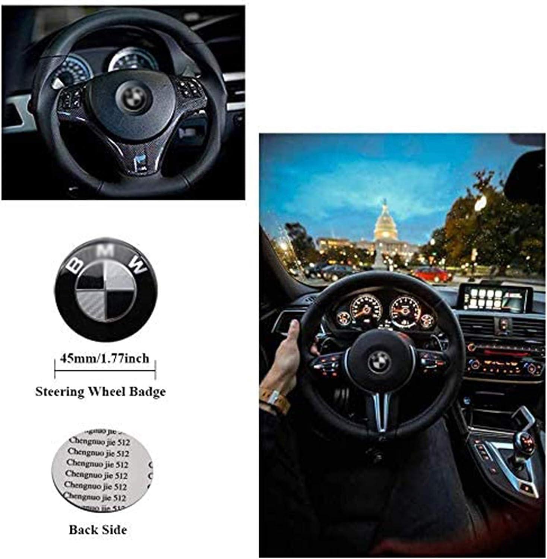 Fibre De Carbone Blanc + Noir 45 Mm LODYPERO Badge avec Logo Adh/ésif pour Volant Convient /À B M W 1 3 5 6 7 Z3 Z4 X5 X6 E46 E90 E39 E60 F10 Tous Les Modes