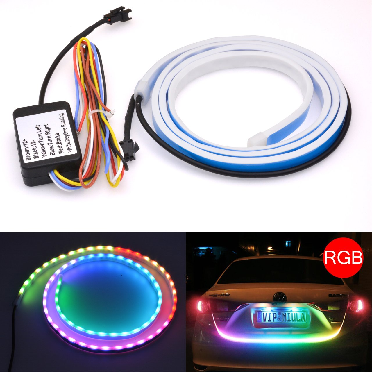 KaTur Waterproof Tailgate Led Strip Light Bar Car Streamer Red/White Reserve Running Brake Turn Signal Tail Lights LED Lamp Strip for Car-Styling Decoration 120CM