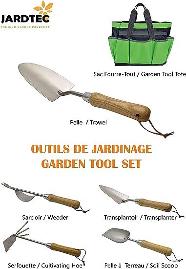 JARDTEC Borsa per Attrezzi da Giardinaggio,Set Attrezzi da Giardino 5 Pezzi con Borsa Attrezzi per piantare Organizer da Giardinaggio con Borsa Portatile