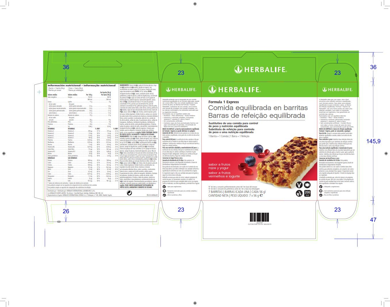 Barritas Fórmula 1 Express Frutos rojos y yogur, caja 7 barritas: Amazon.es: Electrónica