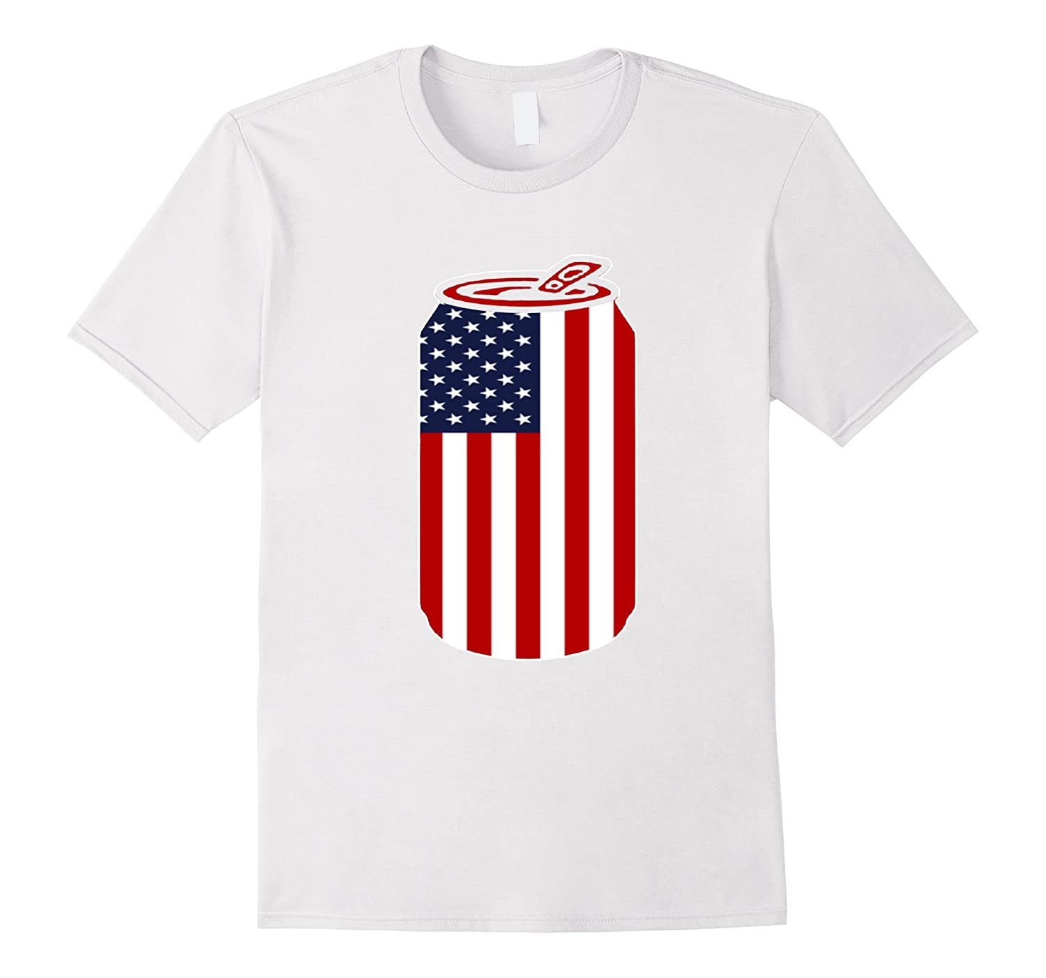 4th Of July Beer Can Flag US Flag Patriotic Gift Tshirt-PL