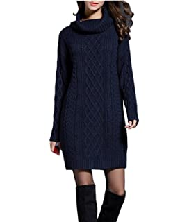 c798f205a8c Amazon.com: NUTEXROL Women's Long Sleeve Turtleneck Knit Thick Cable ...