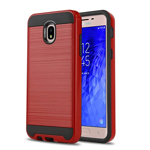 Phone Case for [Samsung Galaxy J7 Crown (S767VL)], [Protech Series][Red]  Shockproof Cover [Impact Resistant][Defender] for Galaxy J7 Crown  (Tracfone,
