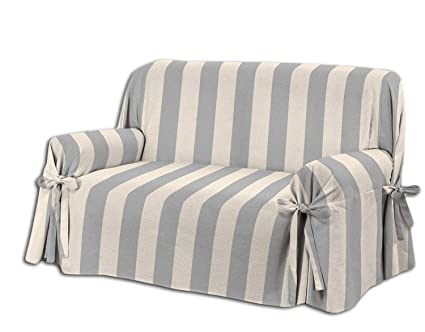 HomeLife Two or Three Seater Sofa Cover - Stylish Striped Pattern Sofa  Cover - Cotton Sofa Cover & Protection from Dust, Stains, Dog & Cat Hairs  Made ...