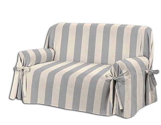 HomeLife – Cubre sillón – Elegante Protector de sofás a Rayas – Funda de sofá de algodón para Proteger del Polvo, Las Manchas y el Desgaste, Fabricado ...